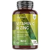 Vitamina C Zinc 120 Cápsulas Vegano - Vitamina C Pura Del Ácido Ascórbico Con Vitamina b12, Hierro, Cúrcuma y Jengibre Contribuye Funcionamiento Normal del Sistema Inmunológico Reduce Cansancio