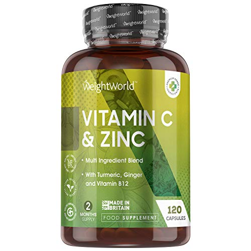 Vitamin C with Zinc, Iron, Vitamin B12 & Selenium Complex - 120 Capsules (2 Month Supply) Multivitamin & Mineral Support Supplement with Turmeric, Ginger Root, Cranberry Extract & Friendly Bacteria