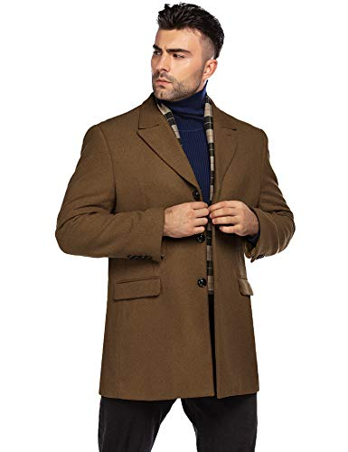 COOFANDY Men's Short Trench Coat Winter Slim Fit Single Breasted Wool Mix Overcoat with Removable Scarf (Coffe S)