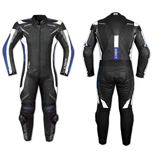 A-Pro Lederkombi Motorrad Rindsleder Jacke Hose Protektoren 2 Teilige Blau 56