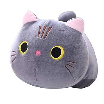 Hofun4U Grey Cat Plush Pillow 18.8 Inch Cat Stuffed Animal Kawaii Kitty Plush Doll Toy Anime Cat Soft Throw Pillow Christmas Birthday Party for Adults Kids Girls Boys