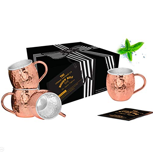 Set of 4 Moscow Mule Copper Mugs with Stainless-Steel Lining | Double Wall, Lined, Handcrafted Premium Copper Cups for Moscow Mules or Mint Juleps | Hammered Mug Set Includes Recipe Book