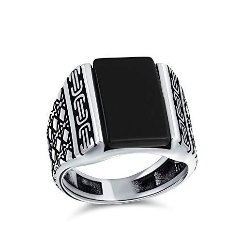 Diamond Shape Cable grabado banda piedra preciosa negro ónix rectángulo Signet anillo para hombres pesado 925 plata de ley hecha a mano en Turquía