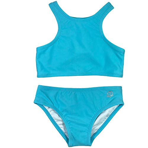 SwimZip Girls Halter Top and Bikini Bottom 2 Piece Set UPF 50+ Aqua Blue 8-10