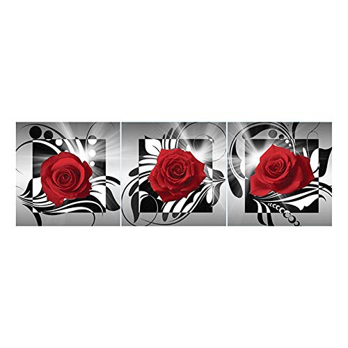 Broadroot Rote Rose 5D DIY Vollbohrer Diamant Malerei 3-Bilder Kombination Handwerk Kreuzstich Kit Stickerei Home Decor Geschenk (02)
