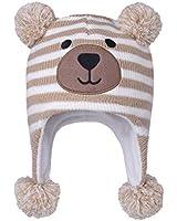 LANGZHEN Toddler Kids Infant Winter Hat,Earflap Knit Warm Cap Fleece Lined Beanie for Baby Boys Girls (Bear -Beige Stripe, 6-12 Months)