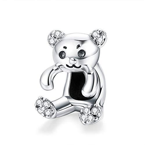 Zxxxuun 925 Plata de Ley Oso de Dibujos Animados Charm Blue Bead Fit Original Pandora Pulseras Collar DIY Accesorios de joyería