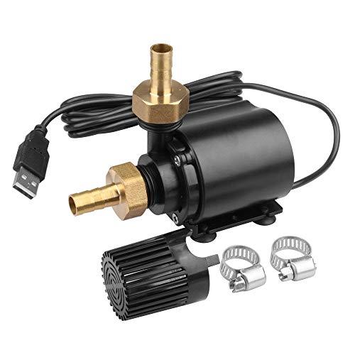 TSSS 500L/H Außengewinde USB Wasserpumpe 4W Bürstenlosen Unterwasserpumpe Brunnenpumpe mit 2 Messing düsen,150cm Stromkabel Aquariumpumpe Wasser Kreiselpumpe Umwälzpumpe