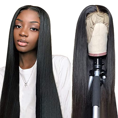 Straight Lace Front Wigs Human Hair 24 Inch 13×4 Brazilian Virgin Human Hair Lace Front Wigs For Black Women 150% Density Straight Hair Lace Front Wigs Pre Plucked With Elastic Bands Natural Color