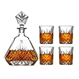 SuDeLLong Whiskygläser und Dekanter-Set, Whiskey-Gläser-Set, 650 ml Flasche und 4 x 320 ml...