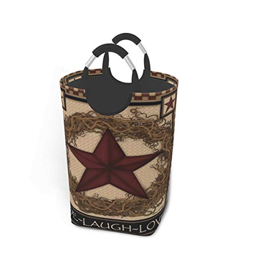 Kiuloam Country Primitive Barn Star Laundry Basket with Handles Large Collapsible Organizer Bin Laundry Hamper for Kids Room Dirty Clothes Toys