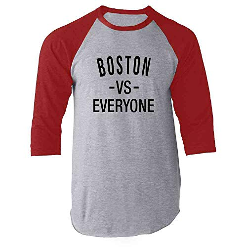 Boston vs Everyone New England Sports Fan Red L Raglan Baseball Tee Shirt