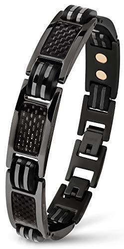 Lunavit Magnetschmuck Armband aus Titan mit Carbon für Herren, schwarzes sportliches Powerarmband, längenverstellbar