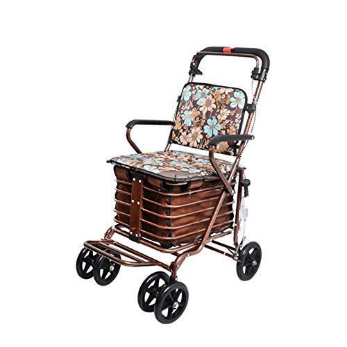 Z-SEAT Klappbarer Einkaufswagen, Allrad-Rollator-Gehhilfen Leichter, höhenverstellbarer Wagen mit gepolstertem Sitz und Tragekorb