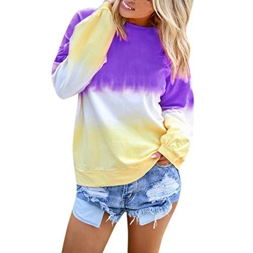 Aunimeifly Women s Gradient Contrast Color Sweatshir Ladies Casual O-Neck Pullover Long Sleeve Top Autumn Blouse Purple