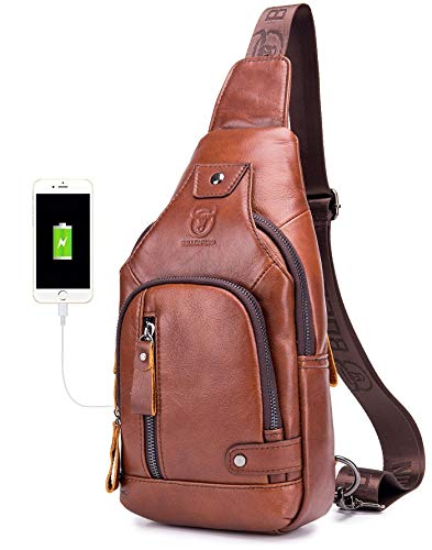 BULLCAPTAIN Leather Men Sling Bags Travel Crossbody Chest Bag Hiking Daypack with USB Charging Port Multi-Pocket