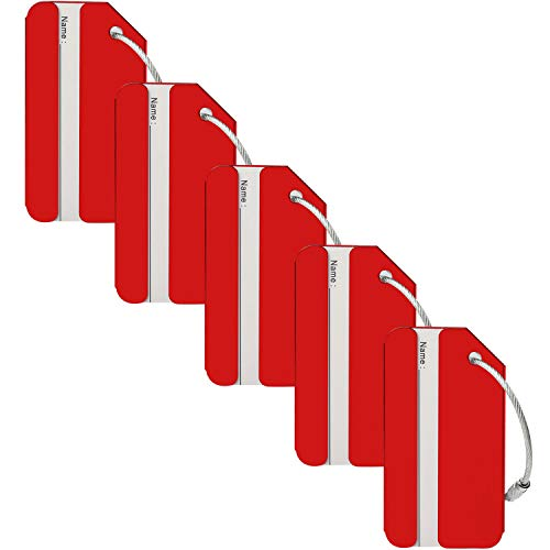Aluminum Luggage Tags, Bag Tag Travel ID Labels Tag, Bright Suitcase Tags & Luggage Baggage Identifier by LouisJoeYu(Red-5)