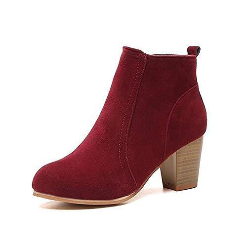 SwissWell Damen Stiefeletten mit hohen Absatz 7 cm Plateau Ankle Boots Kurz Stiefel High Heels Damen Schuhe mit Reißverschluss Rot,EU-41