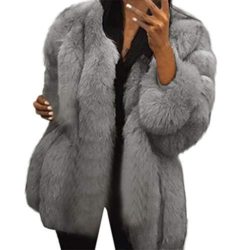 Damen Wintermantel Kolylong® Frauen Dicke Parka Winter Warme Kurz Einfarbig Freizeit Kunstpelz Mantel Jacke Künstliches Pelz Fleecejacke Wollmantel Plüschjacke Pelzjacke