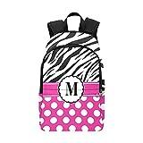 Zebra Print and Pink Polka Dots Initial Personalized School Bags Kids Backpack for Teen Boys Girls ,Custom Travel Backpack Bookbag