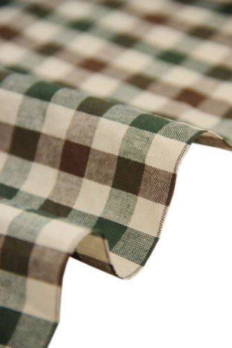 57'' Wide Home Quilting Fabric Cotton Plaids Fabric Coffee&Green(17.557 Inches)