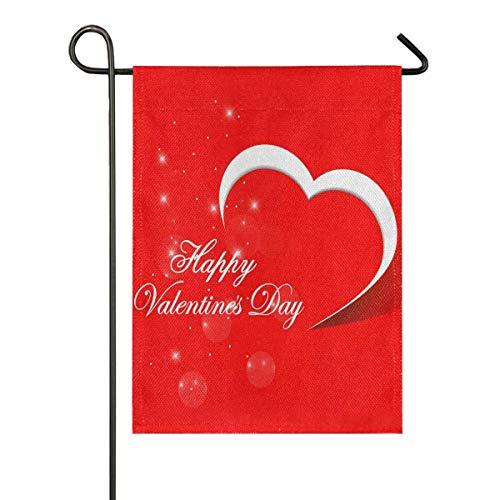 LL-Shop Feliz día de San Valentín Tarjeta corazón Rojo Fondo Vector ilustración - Eps10 arpillera jardín Bandera Doble Cara, casa Patio Banderas, Vacaciones Temporada Decorativa Exterior Bandera