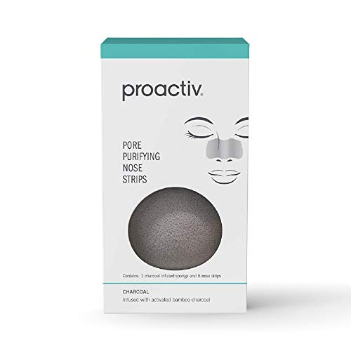 Proactiv Pore Purifying Nose Strips For Blackheads - Pore Cleansing Strips Plus A Charcoal Cleansing Sponge For Black Head Removal, 6ct