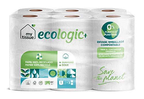 My Tissue - 1 Paquete de Papel WC Reciclado, 300 Servicios, 12 Rollos - Ecológico, Doble Rollo, Dos Capas, Compacto, Suave, Certificado FSC Recycled, Color Blanco