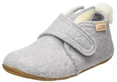 Living Kitzbühel Baby-Mädchen Babyklettschuh Hase mit Ohren Hausschuh, hellgrau,23 EU