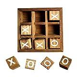 TOYANDONA Juego de mesa de madera Tic Tac Toe, juegos de mesa XO, divertidos juegos para la familia, decoración de la mesa, rústica, juego de estrategia para exteriores e interiores