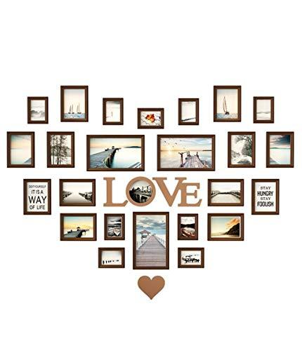 ZPQJH Woonkamer Hartvormige fotomuur, Decoratieve Creatieve Liefde fotolijst Hangende Muur Eenvoudige Moderne fotolijst Combinatie Bruiloft Home Accessoires