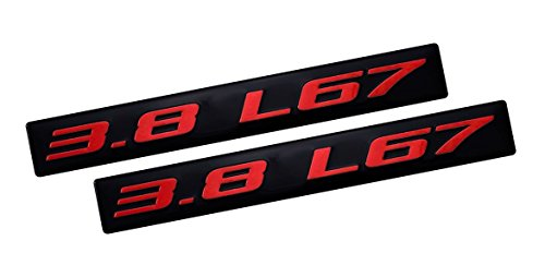 2x (Pair / Set) 3.8 L67 RED on BLACK Highly Polished Real Aluminum EMBLEMS (set of 2)