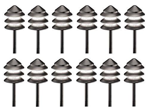12 Pack Malibu 8301-9202-12 Metal, 3 Tier Pathway Pagoda Lights, 7 watts, Landscape Lighting with Black Finish