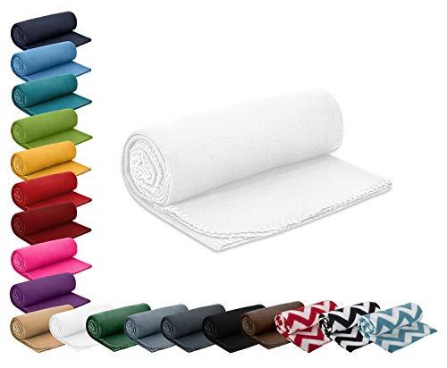 Polar- Fleecedecke 130x160 cm ca. 400g wertiges Gewicht mit Anti-Pilling Kettelrand Farbe weiß in vielen bunten Farben