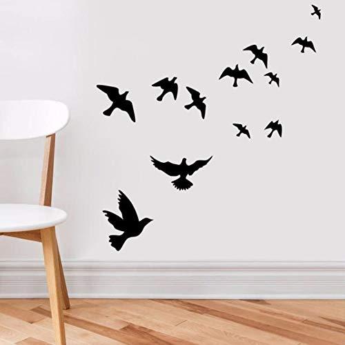 Lxtmgzgf Wandsticker, wit, zwart, met vogels, verwijderbaar