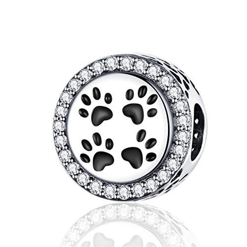 LaMenars My Pet's Voetafdrukken 925 Sterling Zilver Bead Charm Past op Pandora, Chamilia & Europese Charm Armbanden & Kettingen