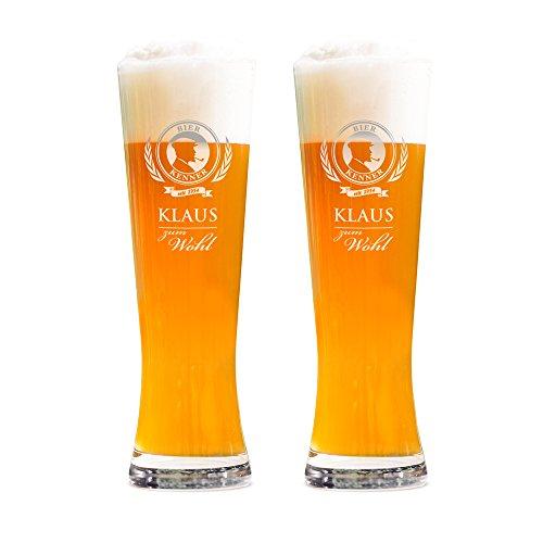 AMAVEL 2er Set Weizenbierglas – Gravur Bierkenner – Personalisiert mit [Namen] und [Jahr] – 0,5l Bierglas – Individuelles Weizenglas – Weißbierglas Gläserset – Geburtstagsgeschenk für Männer