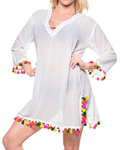 LA LEELA Christmas Kostüme Weihnachtsmann Geschenke Urlaubs Party Feste Badebekleidung mit Langen Ärmeln Strand tragen Pom Pom-Bikini-Vertuschung Oben Weiß_B555 M: DE Größe 44 (L)