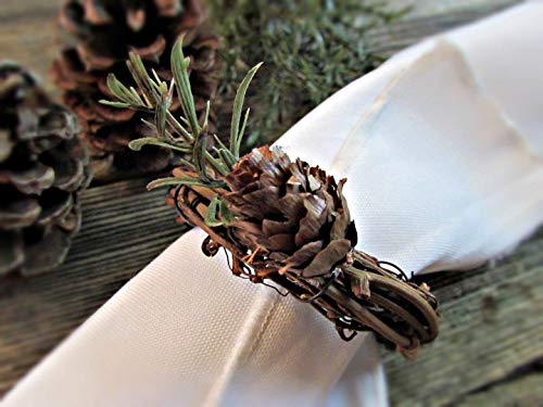 Pine Cone & Evergreen Grapevine Twig Napkin Rings Holders- Winter Holiday Christmas Table Decor (Set of 4, 6, 8, 10, 12)