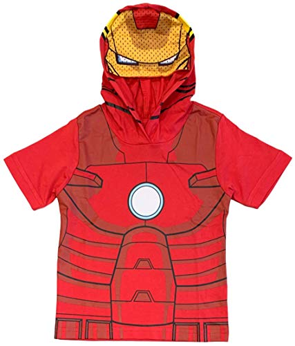 Marvel Avengers Little Boys' Iron Man Hooded Tee with Mask (5/6) Red