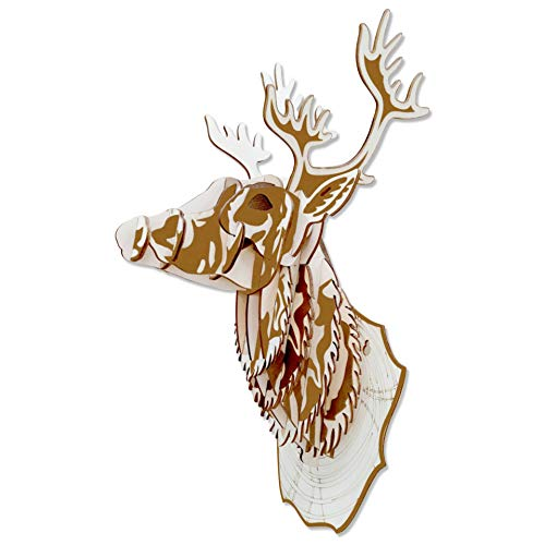 GuDoQi 3D Holz Puzzle, Rentier-Modell, Hirschkopf, Wooden Puzzles Bausatz Holz, DIY Spielzeug, Modellbau Holz, Hölzernes Modell Gebäude Geschenk für Teen und Erwachsene für Urlaub und Weihnachten