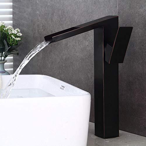 DKee grifos de cocina texturizado negro estilo europeo cobre baño lavabo aumento cascada efluente hogar hotel caliente y frío ajuste lavabo grifo