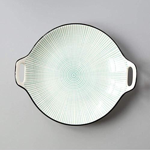 DHTOMC Conjunto de Porcelana Creativa Placa de Oreja Doble Cerámica Glaseado Color Simple Hogar 9 Pulgadas Platos Sirviendo vajilla de Plato para Suministros de Cocina Cena Xping