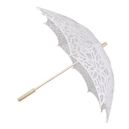 LUOEM Paraguas nupcial de la boda del cordón del parasol de la boda Paraguas de la novia de la boda paraguas blanco prop foto para decoración nupcial de la boda (blanco)
