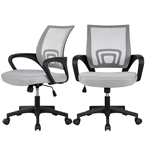 Yaheetech Set of 2 Adjustable Mid-Back Ergonomic Office Chair Fabric Desk Chair Cheap Back Support Task Chair for Home, Workplace Gray