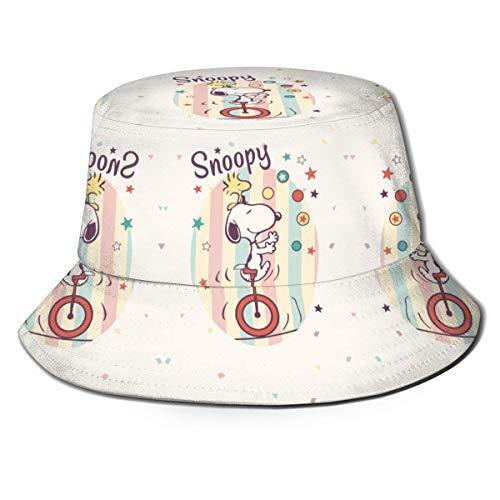 Happy Sn-oopy Fisherman Hat Verano Protección UV Sombreros de Cubo de Viaje Gorra de Sol Plegable de Playa para Hombres y Mujeres