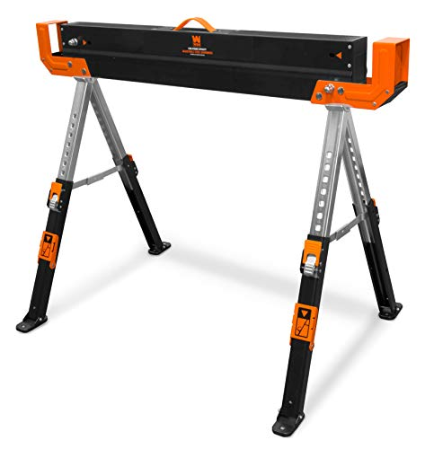 WEN WA1300 1300-Pound Capacity Height Adjustable Folding Steel Saw Horse with 2x4 Support Arms