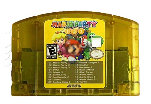 Cenxaki Game Cartridge Card for Nintendo N64 with Mario Party 1 2 3 and 15 NES Support Game 18 in 1 Memory Card