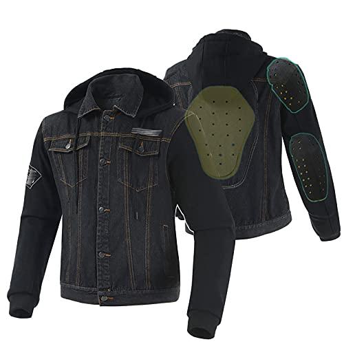 LISI 4 Estaciones Chaqueta Moto Hombre con Protecciones Estilo Retro Cazadora de Moto Armadura Removible y Sombrero