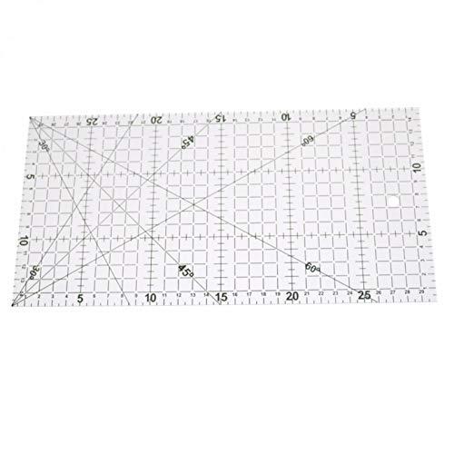 WSZOK Regla de acolchar, plantilla de acolchado de acrílico transparente, fácil de cortar de retazos alineados de costura de dibujo de costura regla de medición de suministros 30 cm x 15 cm